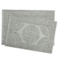 Jean Pierre Stonewash Medallion Bath Rug in Grey Blue (Set of 2)
