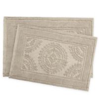 Jean Pierre Stonewash Medallion Bath Rug in Taupe (Set of 2)