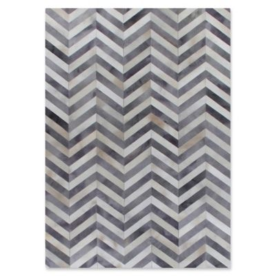 Exquisite Rugs Natural Hide Chevron 5 Foot X 8 Foot Area Rug In Pewter