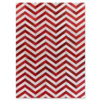Exquisite Rugs Natural Hide Chevron 8-Foot x 11-Foot Area Rug in Red/White