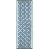 Safavieh Courtyard Quatrefoil 2-Foot 3-Inch x 10-Foot Indoor/Outdoor Runner in Blue/Beige