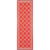 Safavieh Courtyard Quatrefoil 2-Foot 3-Inch x 22-Foot Indoor/Outdoor Runner in Red/White