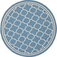 Safavieh Courtyard Quatrefoil 4-Foot Round Indoor/Outdoor Accent Rug in Blue/Beige