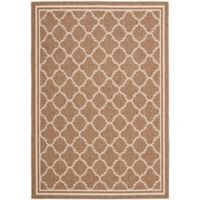 Safavieh Courtyard Quatrefoil 4-Foot x 5-Foot 7-Inch Indoor/Outdoor Area Rug in Brown/White