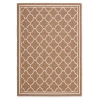 Safavieh Courtyard Quatrefoil 6-Foot 3-Inch x 7-Foot 7-Inch Indoor/Outdoor Area Rug in Brown/White