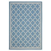 Safavieh Courtyard Quatrefoil 5-Foot 3-Inch x 7-Foot 7-Inch Indoor/Outdoor Area Rug in Blue/Beige