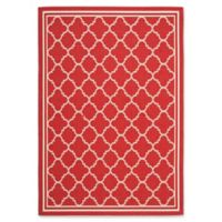 Safavieh Courtyard Quatrefoil 5-Foot 3-Inch x 7-Foot 7-Inch Indoor/Outdoor Area Rug in Red/White
