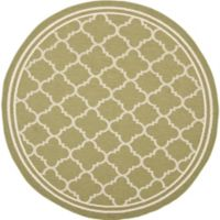 Safavieh Courtyard Quatrefoil 5-Foot 3-Inch Round Indoor/Outdoor Area Rug in Green/Beige