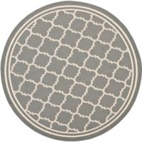 Safavieh Courtyard Quatrefoil 6-Foot 7-Inch Round Indoor/Outdoor Area Rug in Anthracite/Beige