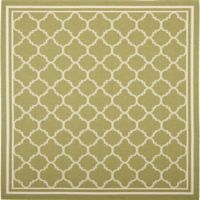 Safavieh Courtyard Quatrefoil 6-Foot 7-Inch Square Indoor/Outdoor Area Rug in Green/Beige