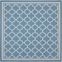 Safavieh Courtyard Quatrefoil 6-Foot 7-Inch Square Indoor/Outdoor Area Rug in Blue/Beige