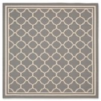 Safavieh Courtyard Quatrefoil 6-Foot7-Inch Square Indoor/Outdoor Area Rug in Anthracite