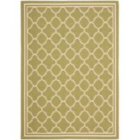 Safavieh Courtyard Quatrefoil 6-Foot 7-Inch x 9-Foot 6-Inch Indoor/Outdoor Area Rug in Green/Beige