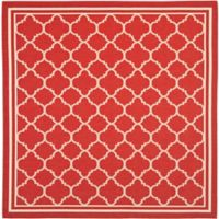 Safavieh Courtyard Quatrefoil 6-Foot 7-Inch Square Indoor/Outdoor Area Rug in Red/White