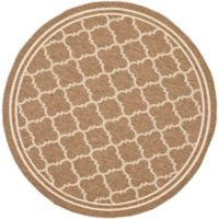 Safavieh Courtyard Quatrefoil 6-Foot 7-Inch Round Indoor/Outdoor Area Rug in Brown/White