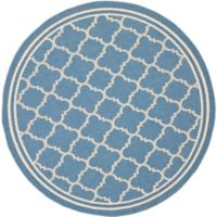 Safavieh Courtyard Quatrefoil 6-Foot 7-Inch Round Indoor/Outdoor Area Rug in Blue Beige