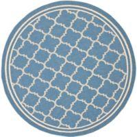 Safavieh Courtyard Quatrefoil 6-Foot 7-Inch Round Indoor/Outdoor Area Rug in Blue Beige