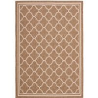 Safavieh Courtyard Quatrefoil 8-Foot x 11-Foot Indoor/Outdoor Area Rug in Brown/White
