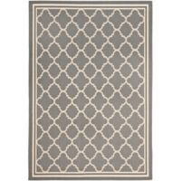 Safavieh Courtyard Quatrefoil 8-Foot x11-Foot Indoor/Outdoor Area Rug in Anthracite/Beige