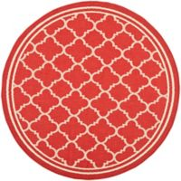 Safavieh Courtyard Quatrefoil 7-Foot 10-Inch Round Indoor/Outdoor Area Rug in Red/White