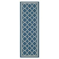 Safavieh Courtyard Trellis 2-Foot 3-Inch x 6-Foot 7-Inch Indoor/Outdoor Runner in Navy/Beige