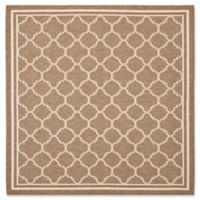 Safavieh Courtyard Trellis 6-Foot 7-Inch Square Indoor/Outdoor Area Rug in Brown/White