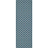 Safavieh Courtyard 2-Foot 3-Inch x 16-Foot Indoor/Outdoor Runner in Navy/Beige