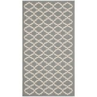 Safavieh Courtyard 2-Foot 7-Inch x 5-Foot Indoor/Outdoor Accent Rug in Anthracite/Beige