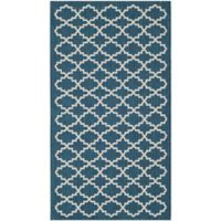 Safavieh Courtyard 2-Foot 7-Inch x 5-Foot Indoor/Outdoor Accent Rug in Navy/Beige