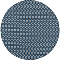 Safavieh Courtyard 4-Foot Round Indoor/Outdoor Area Rug in Navy/Beige