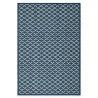 Safavieh Courtyard 5-Foot 3-Inch x 7-Foot 7-Inch Indoor/Outdoor Area Rug in Navy/Beige