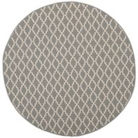 Safavieh Courtyard 5-Foot 3-Inch Round Indoor/Outdoor Area Rug in Anthracite/Beige