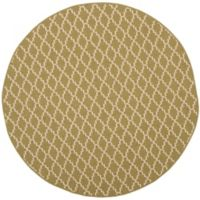 Safavieh Courtyard 6-Foot 7-Inch Round Indoor/Outdoor Area Rug in Green/Beige