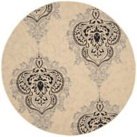 Safavieh Courtyard 6-Foot 7-Inch Indoor/Outdoor Round Area Rug in Cream/Black