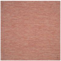 Safavieh Courtyard Chevron 6-Foot 7-Inch Square Indoor/Outdoor Area Rug in Red/Beige