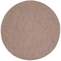 Safavieh Courtyard Chevron 6-Foot 7-Inch Round Indoor/Outdoor Area Rug in Brown/Beige