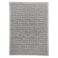 Exquisite Rugs Metro Velvet Bracket 6-Foot x 9-Foot Area Rug in Silver