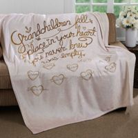 """Grandchildren Fill Our Hearts"" 60-Inch x 80-Inch Fleece Throw Blanket"