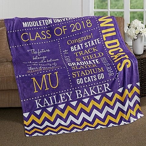 image of School Memories Graduation Fleece Throw Blanket