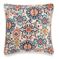 Make-Your-Own-Pillow Abigail Square Throw Pillow Cover in Navy