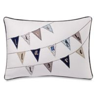 """Make-Your-Own-Pillow """"Live Laugh Love"""" Flags Oblong Throw Pillow Cover in Navy"""