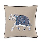 Make-Your-Own-Pillow Molina Elephant Square Throw Pillow Cover in Blue