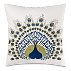 Make-Your-Own-Pillow Peacock Square Throw Pillow Cover in Green