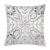 Make-Your-Own-Pillow Emma Crystal Square Throw Pillow Cover in White