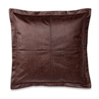 Make-Your-Own-Pillow DiMaggio Faux-Leather Square Throw Pillow Cover in Brown