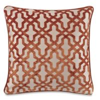 Make-Your-Own-Pillow Velvet Lattice Square Throw Pillow Cover in Rust