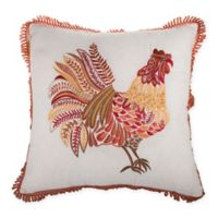 Rooster Embroidered Square Throw Pillow