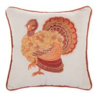 Turkey Embroidered Square Throw Pillow