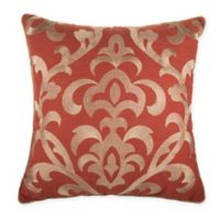 Damask Square Throw Pillow in Rust