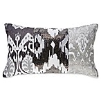 Callisto Home Ikat Rectangle Throw Pillow in Grey